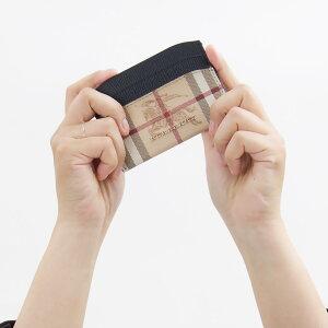 バーバリー カードケース レディース ヘイマーケットチェック HAYMARKET CHECK ブラック&ベージュ 4048244 00100 BURBERRY
