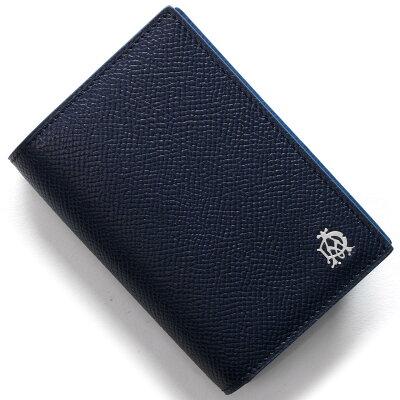 ダンヒル DUNHILL カードケース カドガン CADGAN ネイビー&ブルー L2AC47 N メンズ