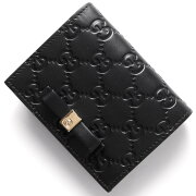 グッチ GUCCI カードケース/二つ折財布【札入れ】 グッチ シグネチャー GG ブラック 406924 CWC1G 1000 レディース