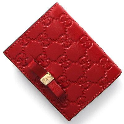 グッチ GUCCI カードケース/二つ折財布【札入れ】 グッチ シグネチャー GG ハイビスカスレッド 406924 CWC1G 6433 レディース