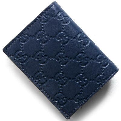 グッチ GUCCI カードケース/お札入れ グッチシグネチャー GG SIGNATURE ダークブルー 410120 CWC1G 4157 メンズ