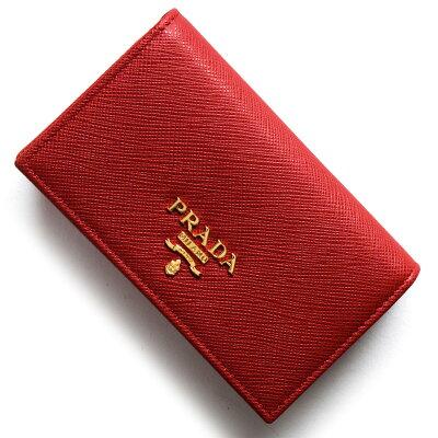 プラダ PRADA カードケース サフィアーノ メタル SAFFIANO METAL フッコレッド 1MC122 QWA F068Z レディース