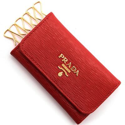 プラダ PRADA キーケース SAFFIANO METAL ラッカレッド 1PG222 2EZZ F0D17 レディース