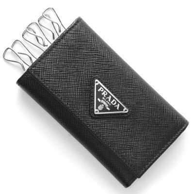 プラダ PRADA キーケース サフィアーノ トライアングル SAFFIANO TRIANG 三角ロゴプレート ブラック 1PG222 QHH F0632 メンズ レディース