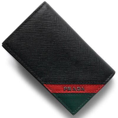 プラダ PRADA カードケース サフィアーノ ストライプ SAFFIANO STRIPE ブラック&フォーコレッド&スメアーグリーン 2MC122 2EGO F0VE3 メンズ