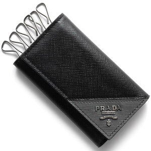 プラダ PRADA キーケース サフィアーノ メタル SAFFIANO METAL ブラック&マーキュリーグレー 2PG222 QME F0R8F メンズ