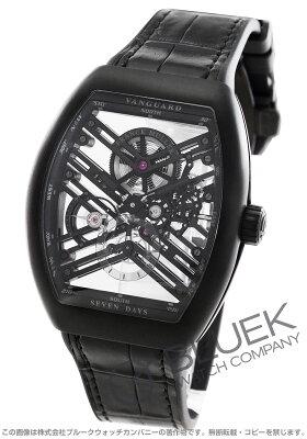 フランクミュラー FRANCK MULLER 腕時計 ヴァンガード 7デイズ パワーリザーブ スケルトン クロコレザー メンズ V45 S6 SQT TT NR BR NR