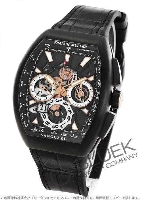 フランクミュラー ヴァンガード グランデイト クロノグラフ クロコレザー 腕時計 メンズ FRANCK MULLER V 45 CC GD SQT TT NR BR 5N[FMV45CCGDTINRPGBKLZBKCR]