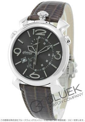 ガガミラノ シン クロノ46MM クロノグラフ リザードレザー 腕時計 メンズ GaGa MILANO 5097.03BW