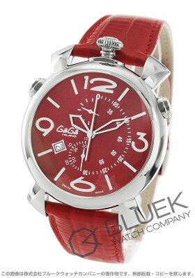 ガガミラノ シン クロノ46MM クロノグラフ リザードレザー 腕時計 メンズ GaGa MILANO 5097.04RD