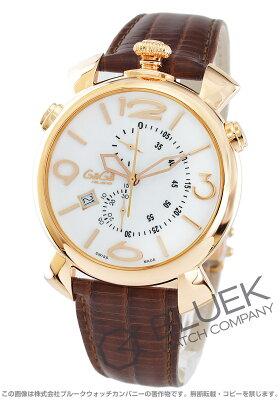 ガガミラノ シン クロノ46MM クロノグラフ リザードレザー 腕時計 メンズ GaGa MILANO 5098.01BW