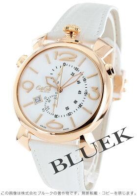 ガガミラノ シン クロノ46MM クロノグラフ リザードレザー 腕時計 メンズ GaGa MILANO 5098.01WH