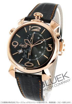 ガガミラノ シン クロノ46MM クロノグラフ リザードレザー 腕時計 メンズ GaGa MILANO 5098.02BK