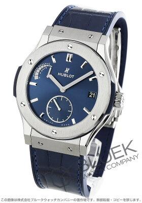 ウブロ クラシック フュージョン チタニウム ブルー パワーリザーブ アリゲーターレザー 腕時計 メンズ HUBLOT 516.NX.7170.LR