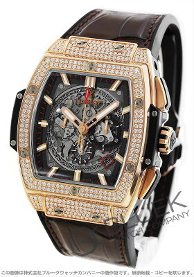ウブロ スピリット オブ ビッグバン キングゴールド パヴェ クロノグラフ ダイヤ アリゲーターレザー 腕時計 メンズ HUBLOT 601.OX.0183.LR.1704