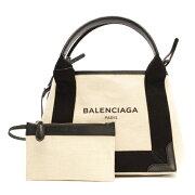 バレンシアガ BALENCIAGA トートバッグ ネイビーカバス NAVY CABAS XS ブラック&ナチュラル 390346 AQ38N 1081 レディース