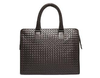 Bottega Veneta BOTTEGA VENETA calf leather business bag dark brown 194669