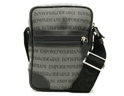 エンポリオアルマーニ EMPORIO ARMANI TRAC PICC TESS LOGATO CHEVRON キャンバス&カーフレザー ショルダーバッグ ライトグレー YEM986 YCF04 86156 【メンズ】