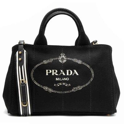 プラダ PRADA トートバッグ/ショルダーバッグ カナパ CANAPA 三角ロゴプレート ブラック&タルコホワイト 1BG642 ZKI F0N12 レディース