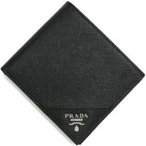 プラダ PRADA 二つ折財布 SAFFIANO METAL ブラック 2MO738 QME F0002 メンズ