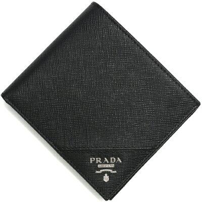 プラダ PRADA 二つ折り財布 SAFFIANO METAL ブラック 2MO738 QME F0002 メンズ