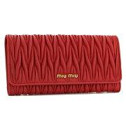 ミュウミュウ MIU MIU 長財布 MATELASSE レッド 5M1109 N88 F0011 レディース