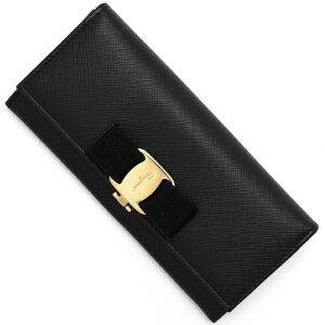 フェラガモ Salvatore Ferragamo 長財布 ヴァラ 【VARA】 リボン ブラック 22B559 0588260 レディース