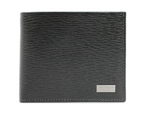 フェラガモ Salvatore Ferragamo ロゴプレート 二つ折財布 ブラック 66-7070