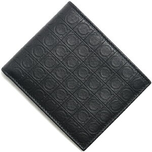 フェラガモ Salvatore Ferragamo 二つ折財布 型押しガンチーニ 【SLG GAMMA】 ディープブラック 669407 0568274 メンズ