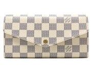 ルイヴィトン LOUIS VUITTON 長財布 ダミエ アズール ポルトフォイユ・サラ エンベロップ ホワイト N63208 レディース