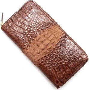本革 Leather 長財布 カイマンワニ 【CAIMAN GENUINE】 ブラウン CJN0477B BNSP メンズ レディース