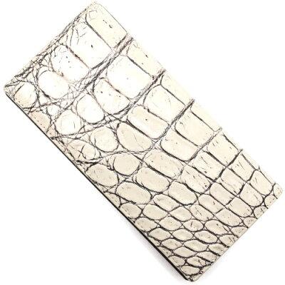 本革 Leather 二つ折財布 クロコダイル 【CROCODILE】 ヴァニラベージュ OKUC0738 VBE メンズ レディース