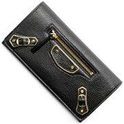 バレンシアガ BALENCIAGA 長財布 クラシック メタリック エッジ マニー ブラック 390184 AQ40G 1000 レディース