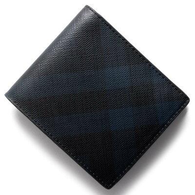 バーバリー 二つ折り財布 財布 メンズ ロンドンチェック LONDON CHECK ネイビー&ブラック 3998944 4100B 2017年秋冬新作 BURBERRY