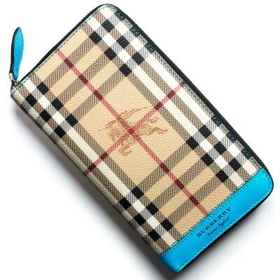 バーバリー BURBERRY 長財布 ヘイマーケットチェック/HAYMARKET CHECK ブライトブルー&ベージュ&グリーン 4065185 A43100 メンズ