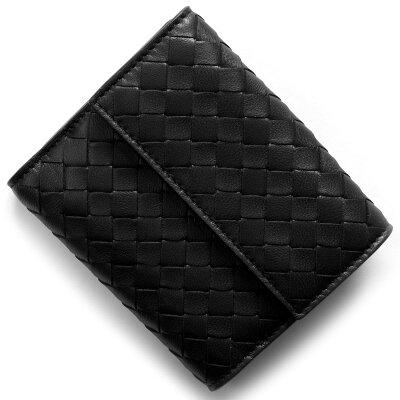 ボッテガヴェネタ 二つ折り財布 財布 メンズ レディース イントレチャート INTRECCIATO ブラック 382576 V001N 1000 2017年秋冬新作 BOTTEGA VENETA