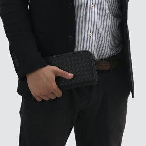 ボッテガヴェネタ 長財布 財布 メンズ イントレチャート 【INTRECCIATO】 ブラック&ニューライトグレー 114076 VBD51 8885 BOTTEGA VENETA
