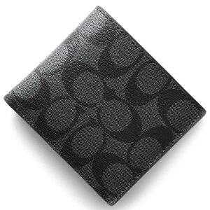 コーチ COACH 二つ折財布 シグネチャー チャコールグレー&ブラック F75006 CQBK メンズ