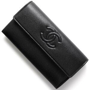 シャネル CHANEL 長財布 キャビアスキン ココマーク ブラック A50070 レディース