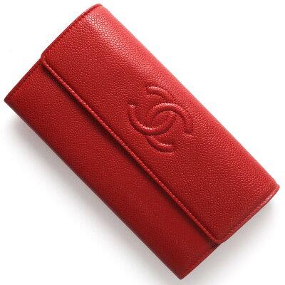 シャネル CHANEL 長財布 キャビアスキン ココマーク レッド A50070 レディース