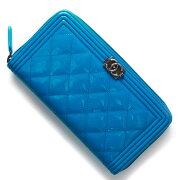 シャネル CHANEL 長財布 ボーイ BOY マトラッセライン ココマーク ブルー A80288 E BLGN レディース