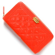 シャネル CHANEL 長財布 ボーイ BOY マトラッセライン ココマーク オレンジ A80288 E ORGD レディース