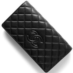 シャネル CHANEL 長財布 ダイヤモンドステッチ キャビアスキン ココマーク ブラック A80696 C BK レディース
