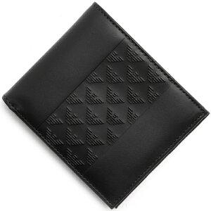 エンポリオアルマーニ EMPORIO ARMANI 二つ折財布 PORTAFOGLIO VITELLO ST.ALLOVER ブラック YEM122 YAL3V 80001 メンズ