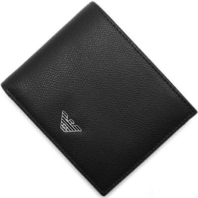 エンポリオアルマーニ EMPORIO ARMANI 二つ折財布 PORTAFOGLIO LOGATO ブラック YEM122 YAQ2E 81072 メンズ