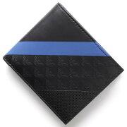 エンポリオアルマーニ EMPORIO ARMANI 二つ折財布 PORTAFOGLIO CONPORTA MONETE ブラック&ブルー YEM122 YKS2V 81072 メンズ