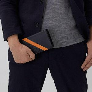 エンポリオアルマーニ 長財布 財布 メンズ PORTA YEN ミッドナイトブルー&オレンジ YEM474 YKS2V 80132 EMPORIO ARMANI