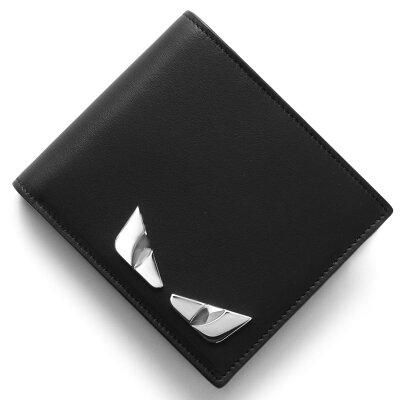 フェンディ FENDI 二つ折り財布【札入れ】 メタル モンスター METALLO MONSTER ブラック 7M0169 O74 F0GXN メンズ