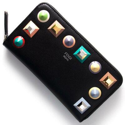 フェンディ 長財布 財布 レディース マルチ スタッズ エディション MULTI EDITION ブラック 8M0299 SR0 F0JBX FENDI