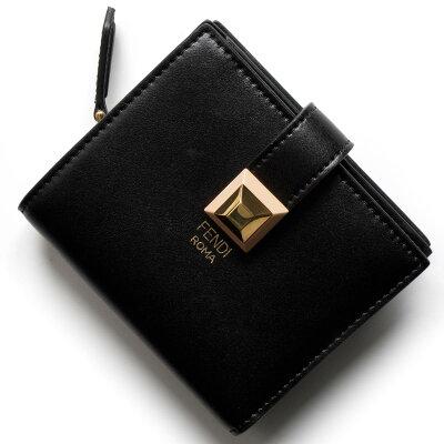フェンディ 二つ折り財布/ミニ財布 財布 レディース スタッズ ブラック&アプリコットピンク 8M0386 SR0 F13JQ FENDI